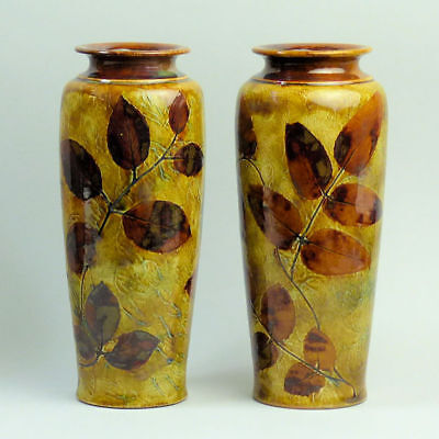 A Pair Of Decorative Royal Doulton  Autumn Foliage Art Pottery Vases C.1910