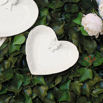 Vassoio Decorativo Cuore Shabby Chic Ceramica Bow Collection Small 16 x 18