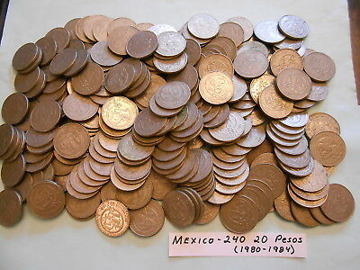 World Coin Lot:  240 20 Pesos (1980-1984) from Mexico                      (#18)