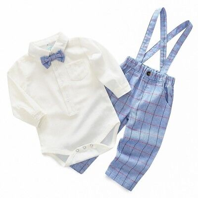 Baby Boy Gentleman Christening Tuxedo Suit Romper Plaid Pants Dungarees Outfit