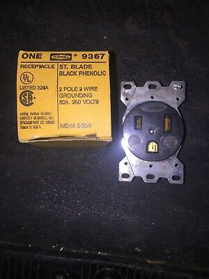 1- Hubbell Straight Blade Receptacle HBL9367 50A 250V 2 Pole 3 Wire