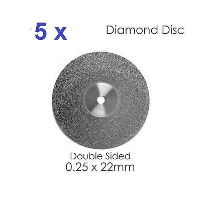 Diamond Disc For Dental Lab x 5 Double Sided Disk 0.25 x 22mm #3 Dental Supplies