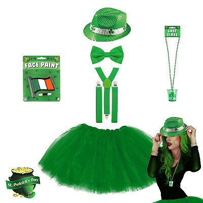 Ladies St. Patrick's Day Green Tutu Fancy Dress Costume - Irish Leprechaun Party