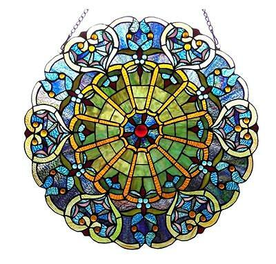 """Stained Glass Chloe Lighting Victorian Window Panel 23"""" Diameter Handcrafted New"""