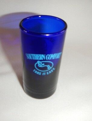 """Southern Comfort Take It Easy Tall 3""""  Cobalt Blue Shot Glass"""