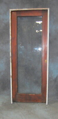 Original Antique Mahogany Full Lite Door in Jamb w/ Wavy Glass, Vintage