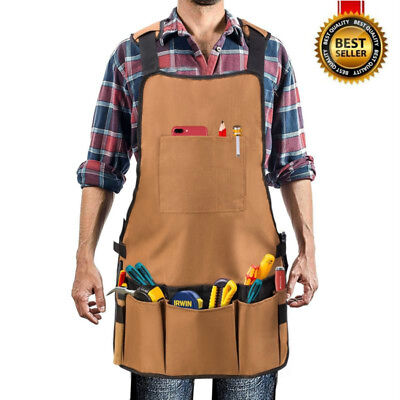 Denim Shop Heavy Duty Oxford Canvas Work Apron with Adjustable and Padded Strap