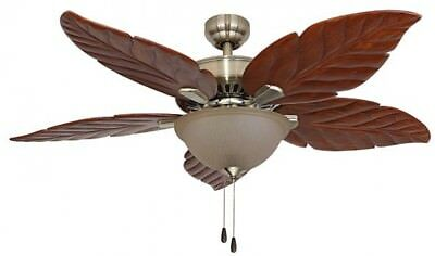 52in Bowl Tropical Aged Brass Ceiling Fan Handcarved Wooden Blade Remote Control