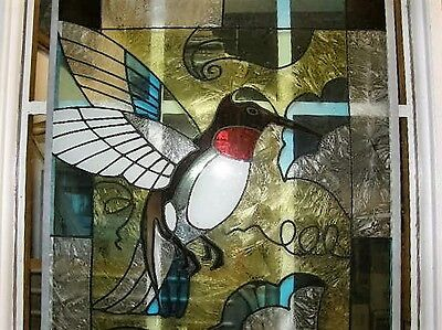 "2338) Vintage Stained Glass Panel Hummingbird & Tulips 15.75 x 23"" Used"