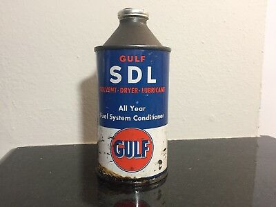 Auth & Orig Gulf Oil & Gas SDL Solvent, Dryer, Lubricant Empty 12oz Old Logo Can
