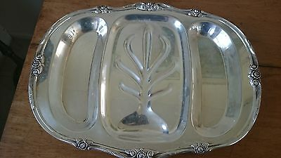 Vintage Rogers 1881 Glenrose Silverplate Footed Serving Tray 14 by 18 1/2 inches