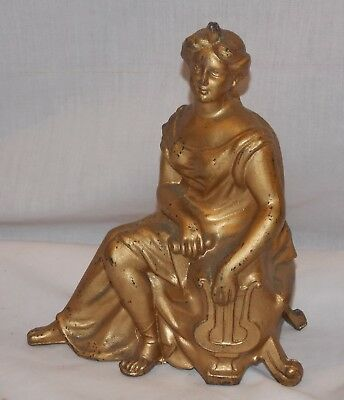 Ansonia Clock Topper Goddess of Music Muse w Lyre Metal Statue Figurine Antique