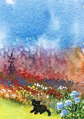Original Art Small ACEO painting watercolour Garden at dusk & cat by Pamela West