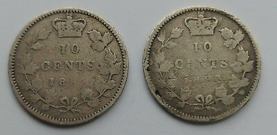 *** Canada  10 Cents *** Lot Of Two *** 1892 - 1893 ***