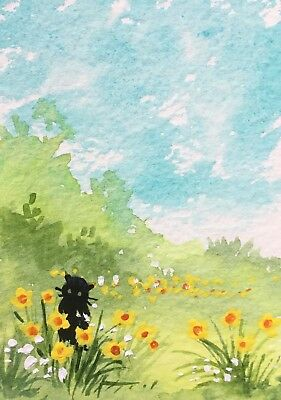 Original Art Small ACEO painting watercolour Daffodil Fields by Pamela West