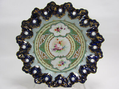 Antique Flow Blue Plate Cobalt Nippon Hand Painted Gold Flowers Ornate Holes