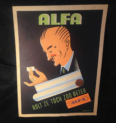 Vintage 1940-50's Alfa Cigarette Rolling Papers Store Display Belgium Great Cond