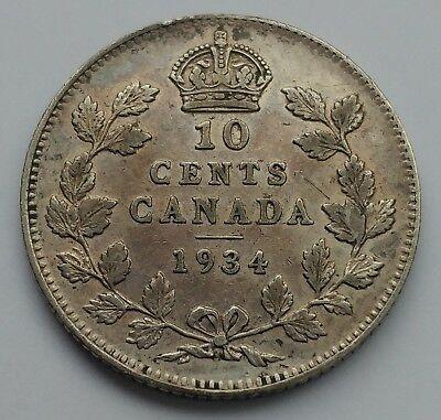 *** Canada  10 Cents 1934 *** Collectable Grade *** Key Date ***