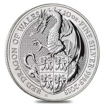 2018 Great Britain 10 oz Silver Queen's Beasts (Red Dragon) Coin BU In Cap