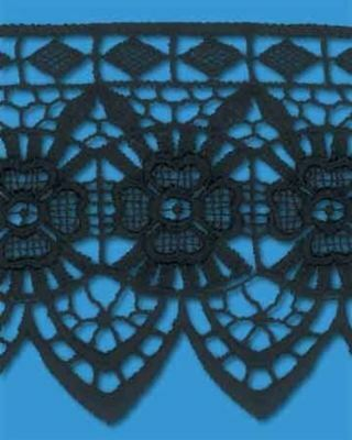 TRIMPLACE Black 2-3/4 Inch Venice Lace Floral Edge--REDUCED PRICE!! 15 Yards