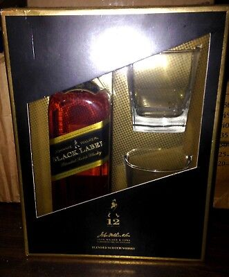 Johnnie Walker Black Label  12 Year Old Extra Special Gift Pack with 2x Glasses
