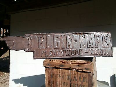 Vintage / Antique sign Elgin Cafe Plentywood Montana early 1900's Rare