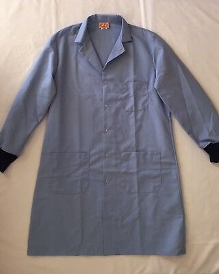 New RED KAP Unisex Blue Lab / Shop Coat w/ Snaps / Cuffs size Small SHIPS FREE