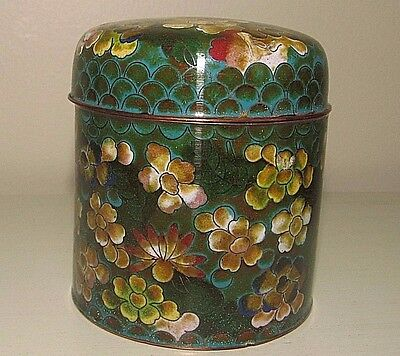Vintage Chinese Enamel Copper Tea/Spice Covered Jar/Container 3.5""
