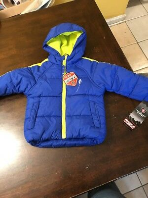 BUBBLE JACKET-HOODED  WATER & WEATHER RESISTANT SIZE 24 M BLUE & Yellow , NEW