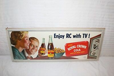 "Vintage 1950's RC Royal Crown Cola Soda Pop Television TV Gas Oil 28"" Sign"