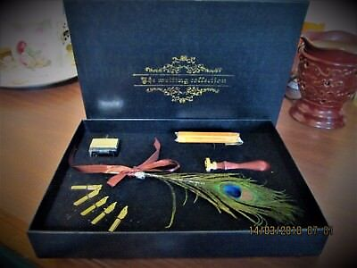 New The Writing Collection Set Boxed Peacock Plume Pen 5 Extra Tips Calligraphy