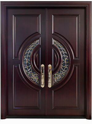 "Mahogany Double Entry Door, 5' x 6' 8"",  2 3/8"" thick Exterior Home Front Doors"