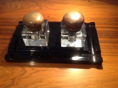 Black Glass Inkwell Desk Set, perfect gift for pen collectors