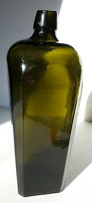 Antique Empty Gin Bottle Smoky Olive Green 46 oz circa 1880 Hand Applied Mouth