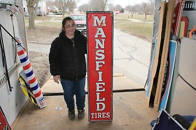 "Large Vintage 1940's Mansfield Tires Gas Station Oil 60"" Embossed Metal Sign"
