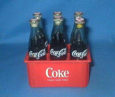 "6 Coca Cola 3"" Miniature Glass Bottles Red Plastic Case Coke"