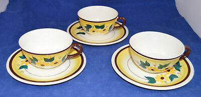 Three (3) Vernonware Brown Susan Cups & Saucers
