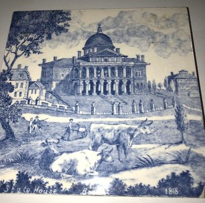 Rare English Minton China Works Tile State House Boston MA Macullar Parker 1818