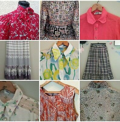 LOT of 13 Vintage tops skirts 60s 70s retro hippie Mod novelty print
