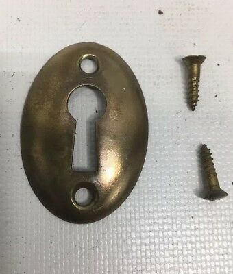Antique Vtg Brass Oval 2 Hole Skeleton Key Cover Plate Escutcheon W/ SCREWS