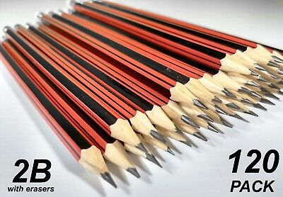 Bulk 120 Pack 2B Lead Pencils with Erasers Red Stripe Barrel