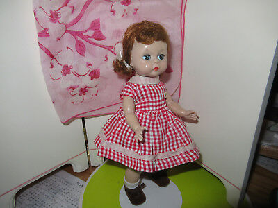 Vintage-8-Madame Alexander-kins WENDY BENT KNEE WALKER DOLL-triple wig-tag dress