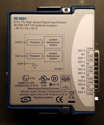 Never Used National Instruments NI 9401 8 Channel Digital Input/Output Module