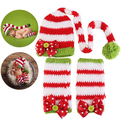 Baby Newborn Crochet Knit Hat Christmas Holiday Photo Photography Prop Outfit US