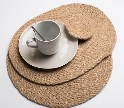 BRAND NEW Hand Woven Round/Oval Natural Rattan Placemats & Coasters
