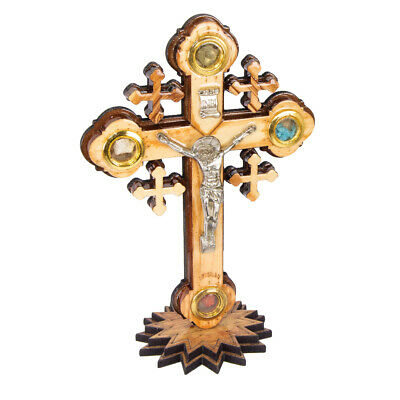 Orthodox Wall Crucifix Hand Made Olive Wood on the Stand from the Holy Land 6,2'