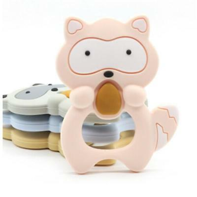 Baby Silicone Raccoon Teether Squirrel Teething Pendant Necklace BPA Chew Toy FW