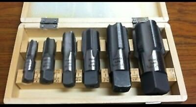 """NEW 6 Piece NPT Taper Pipe Tap Set 1/4"""" thru 1 1/4"""" With Wooden Box. Full Set"""