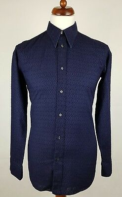 "Vtg 1970s Blue Embroidered Pattern Slim Polycotton Shirt Mod Disco -16""/L- EY76"