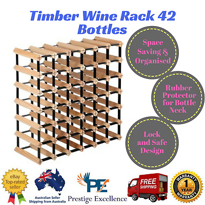 New Timber Wine Rack 42 Bottles Lock and Safe Design with Neck Protectors